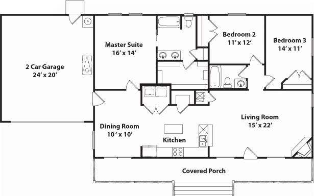 1512 Heritage With Garage Floor Plan
